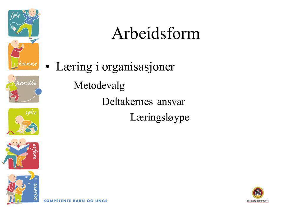 Arbeidsform Læring i organisasjoner Metodevalg Deltakernes ansvar
