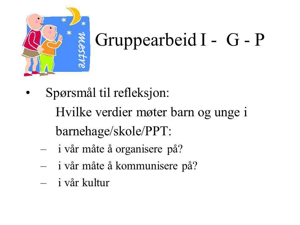 Gruppearbeid I - G - P Spørsmål til refleksjon: