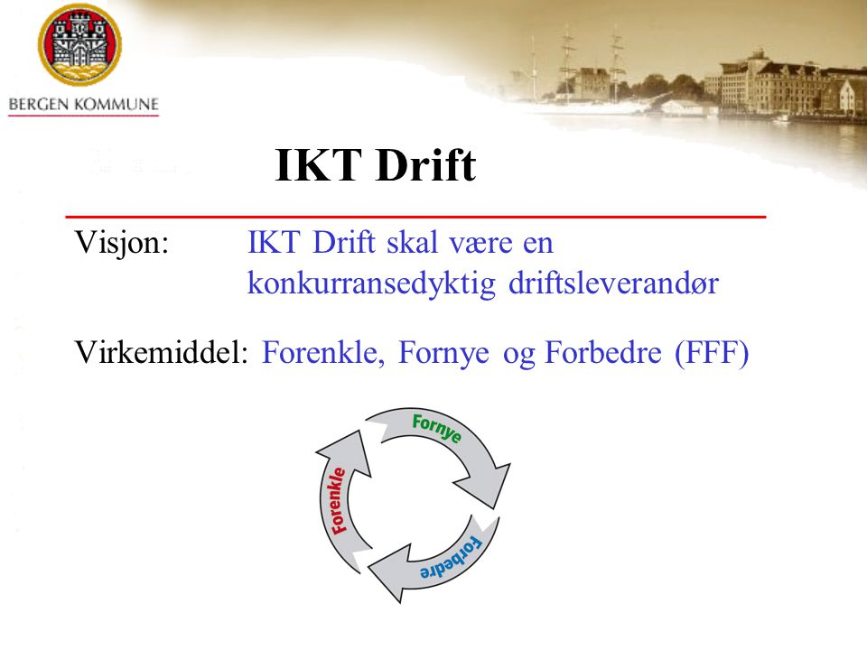 IKT Drift Visjon: IKT Drift skal være en konkurransedyktig driftsleverandør.