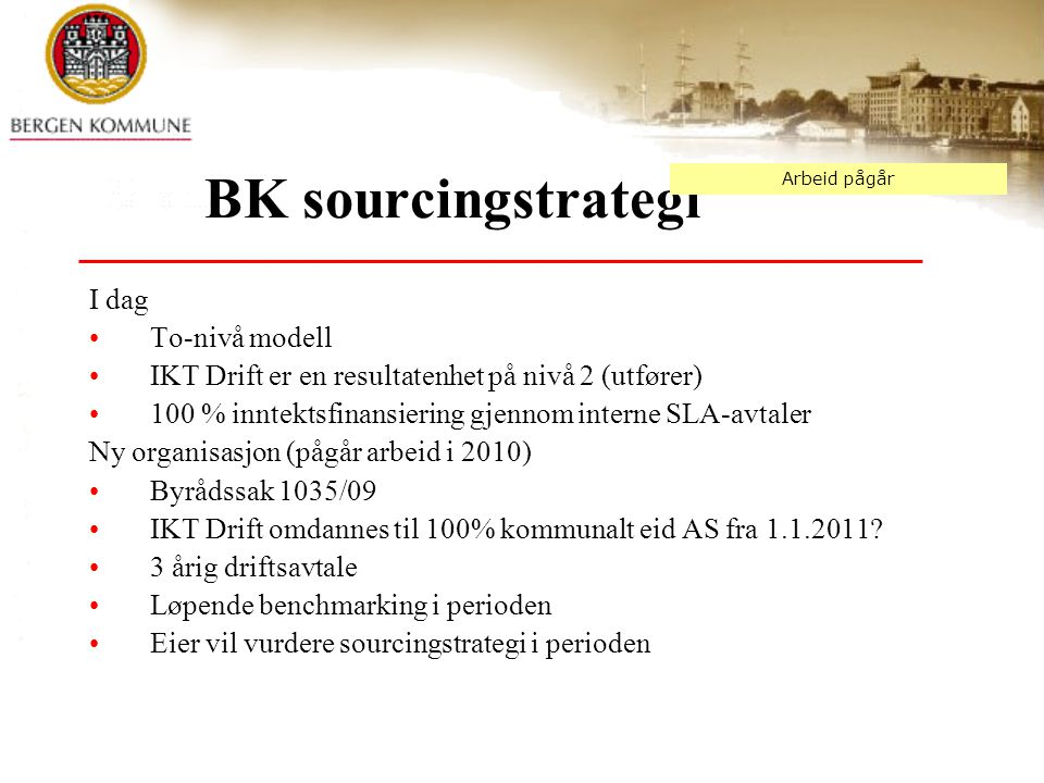 BK sourcingstrategi I dag To-nivå modell