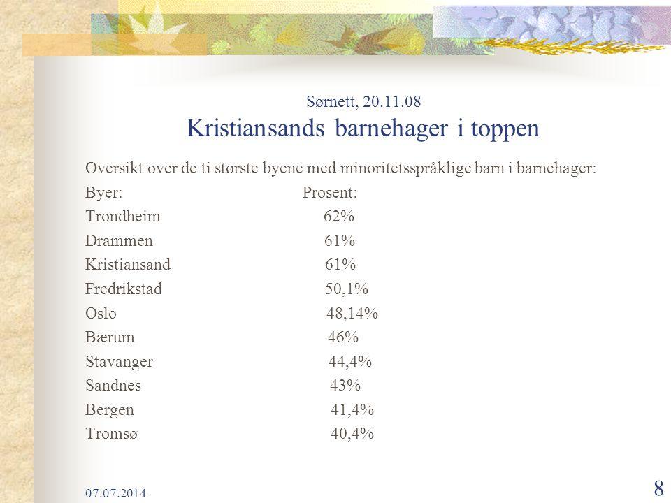 Sørnett, 20.11.08 Kristiansands barnehager i toppen
