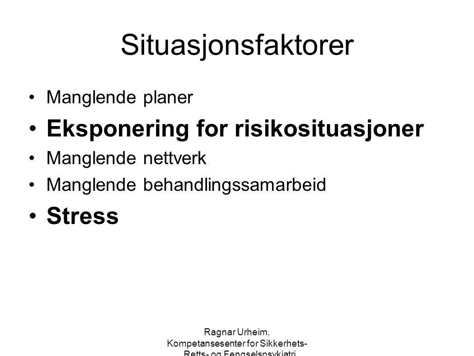 Situasjonsfaktorer Eksponering for risikosituasjoner Stress
