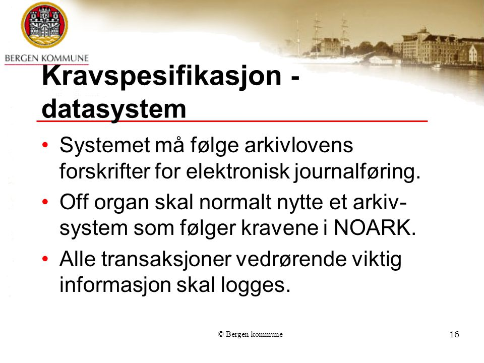 Kravspesifikasjon -datasystem