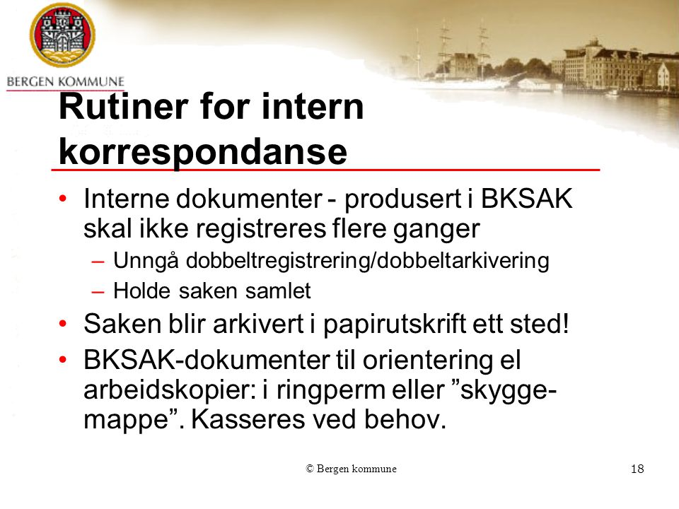 Rutiner for intern korrespondanse