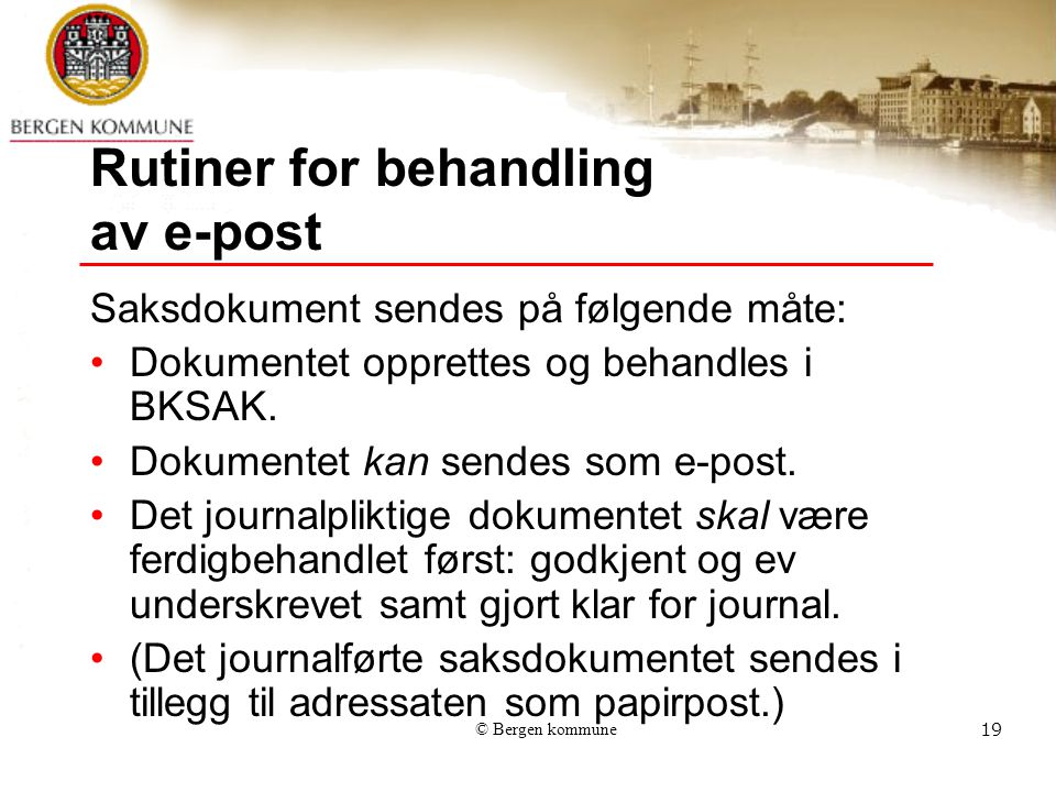 Rutiner for behandling av e-post