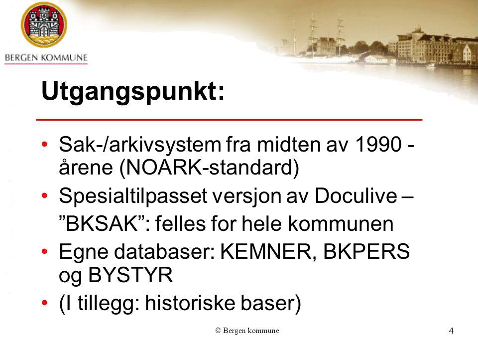 Utgangspunkt: Sak-/arkivsystem fra midten av 1990 -årene (NOARK-standard) Spesialtilpasset versjon av Doculive –