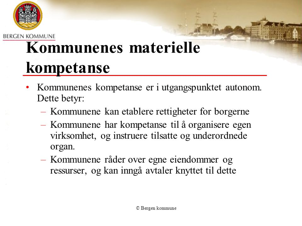 Kommunenes materielle kompetanse