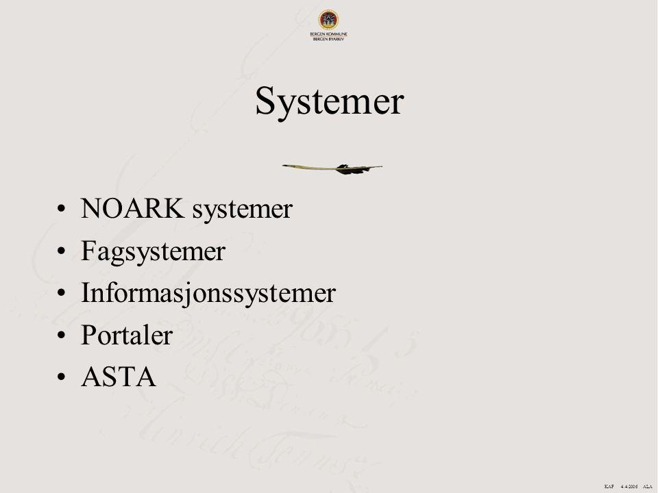 Systemer NOARK systemer Fagsystemer Informasjonssystemer Portaler ASTA