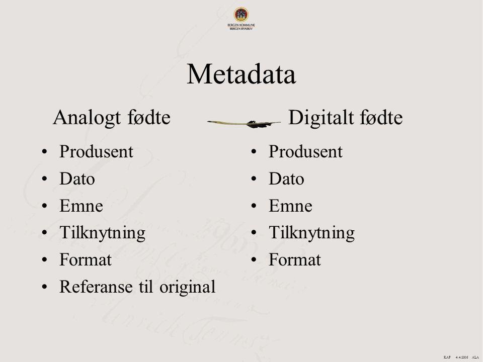 Metadata Analogt fødte Digitalt fødte Produsent Dato Emne Tilknytning