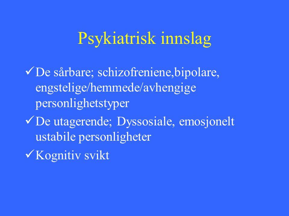 Psykiatrisk innslag De sårbare; schizofreniene,bipolare, engstelige/hemmede/avhengige personlighetstyper.