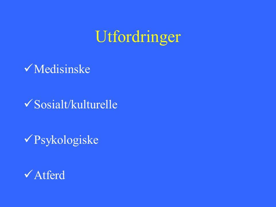 Utfordringer Medisinske Sosialt/kulturelle Psykologiske Atferd