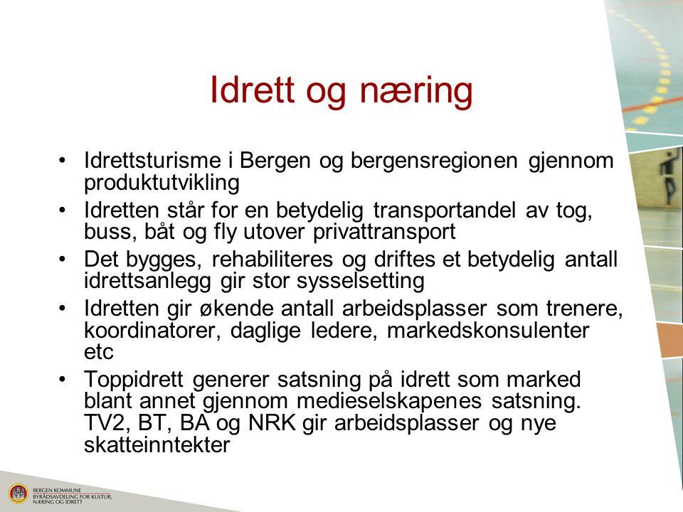 Idrett og næring Idrettsturisme i Bergen og bergensregionen gjennom produktutvikling.