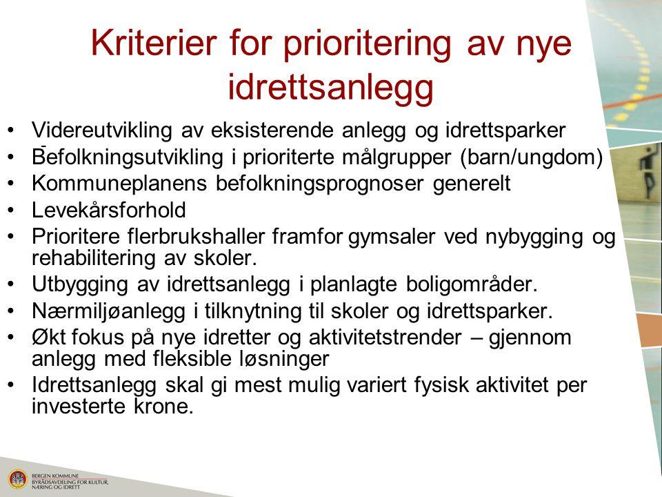 Kriterier for prioritering av nye idrettsanlegg