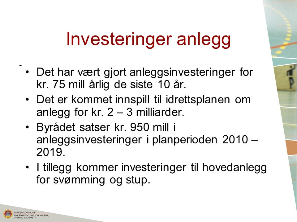 Investeringer anlegg - Det har vært gjort anleggsinvesteringer for kr. 75 mill årlig de siste 10 år.