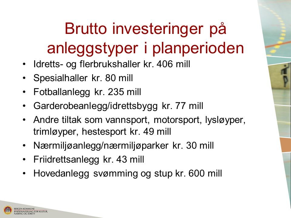 Brutto investeringer på anleggstyper i planperioden