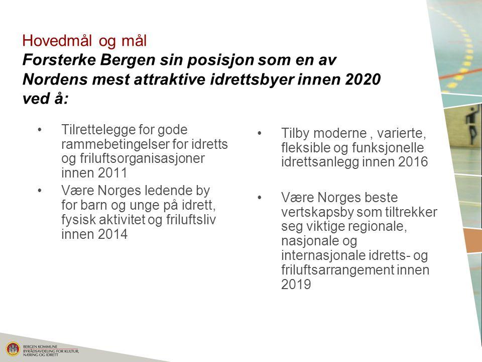 Hovedmål og mål Forsterke Bergen sin posisjon som en av Nordens mest attraktive idrettsbyer innen 2020 ved å: