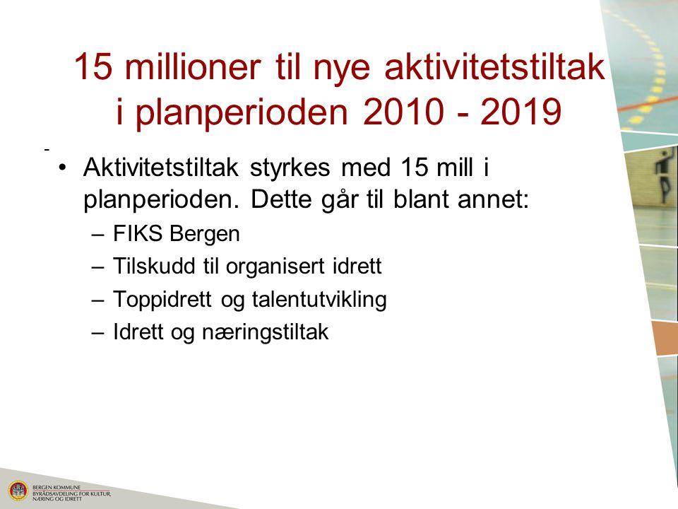 15 millioner til nye aktivitetstiltak i planperioden 2010 - 2019