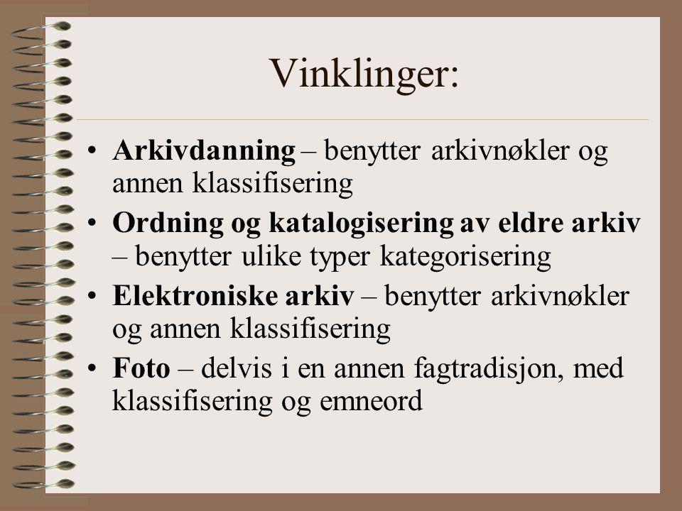 Vinklinger: Arkivdanning – benytter arkivnøkler og annen klassifisering.