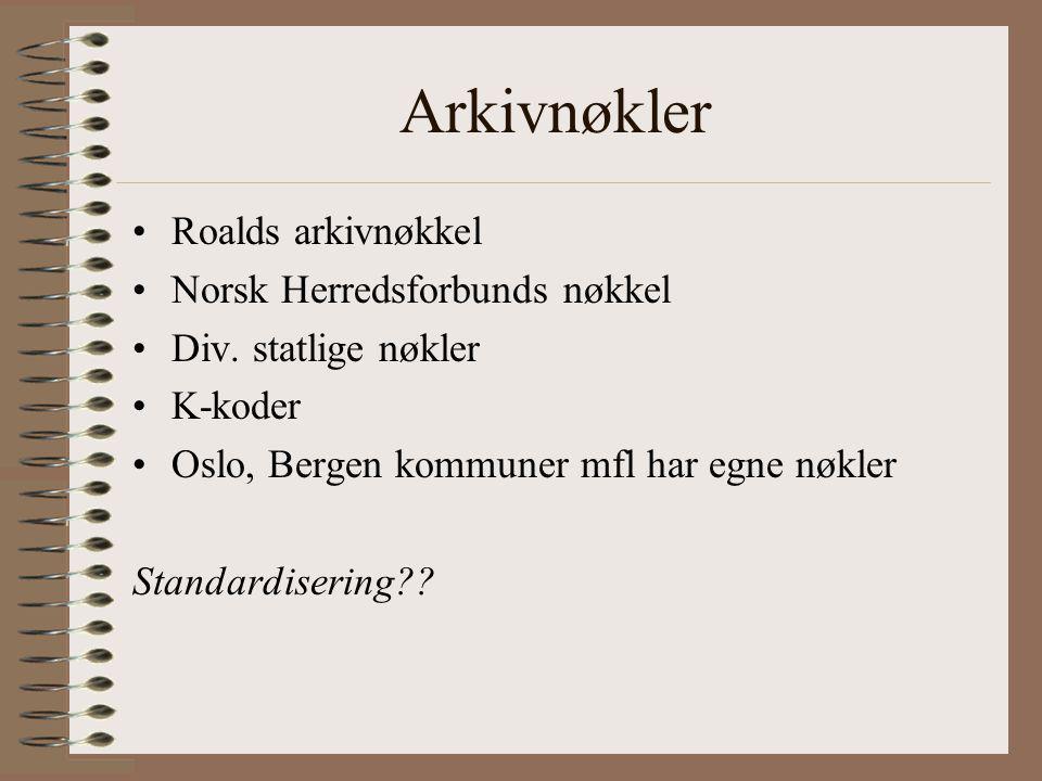Arkivnøkler Roalds arkivnøkkel Norsk Herredsforbunds nøkkel