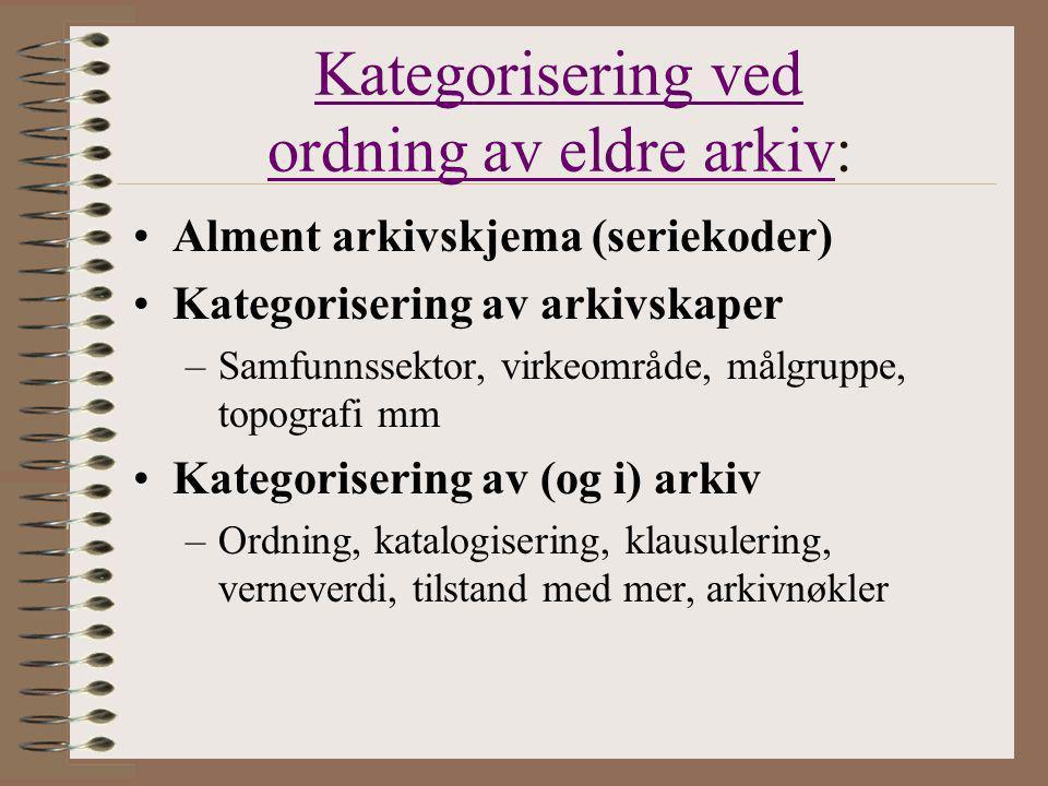 Kategorisering ved ordning av eldre arkiv:
