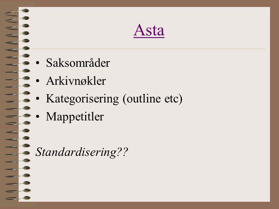 Asta Saksområder Arkivnøkler Kategorisering (outline etc) Mappetitler