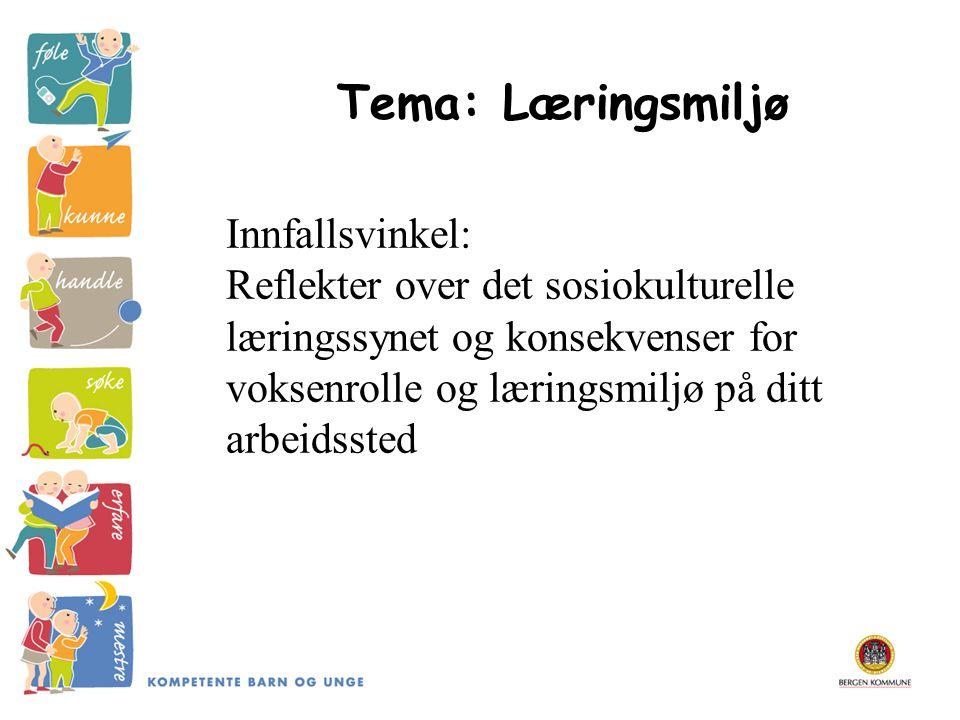 Tema: Læringsmiljø Innfallsvinkel: