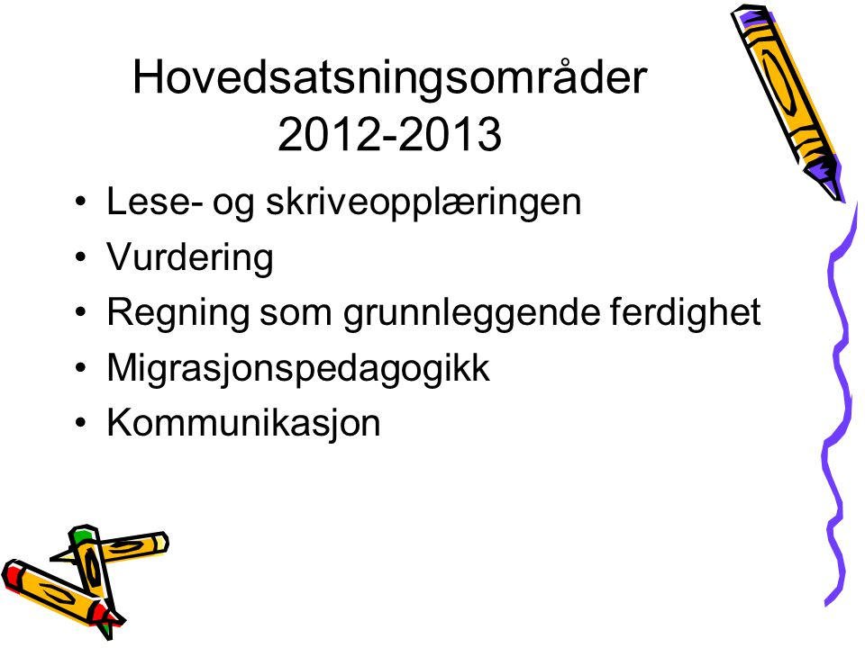 Hovedsatsningsområder 2012-2013