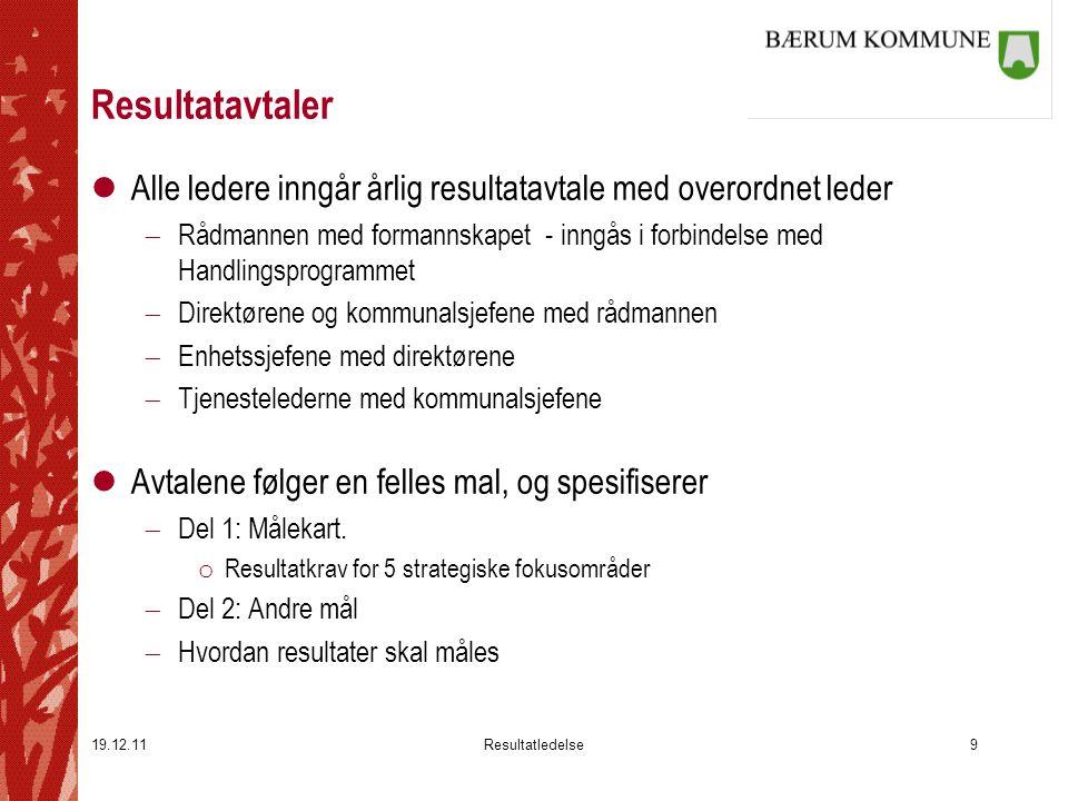 Resultatavtaler Alle ledere inngår årlig resultatavtale med overordnet leder.