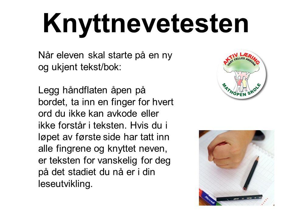 Knyttnevetesten Når eleven skal starte på en ny og ukjent tekst/bok: