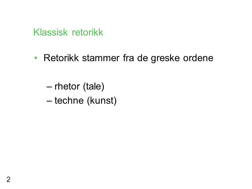 Klassisk retorikk Retorikk stammer fra de greske ordene rhetor (tale) techne (kunst)