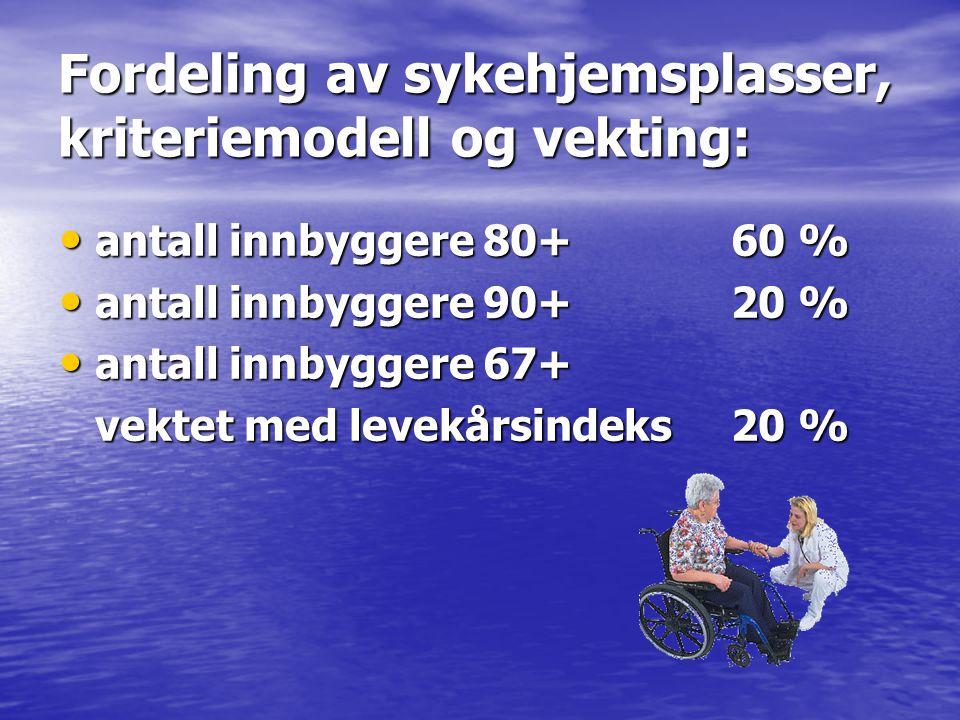 Fordeling av sykehjemsplasser, kriteriemodell og vekting: