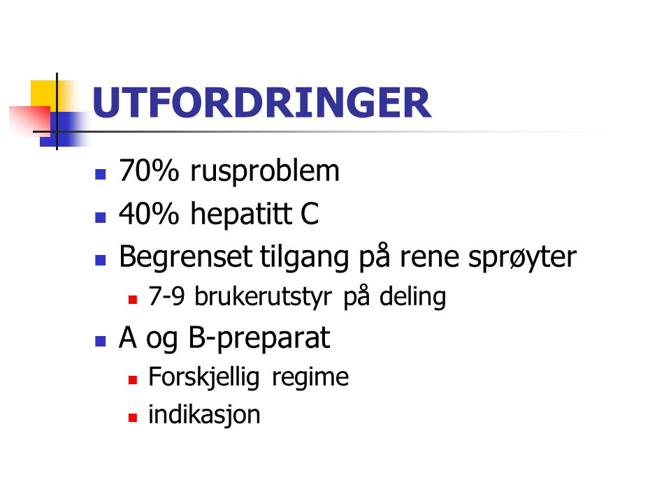 UTFORDRINGER 70% rusproblem 40% hepatitt C