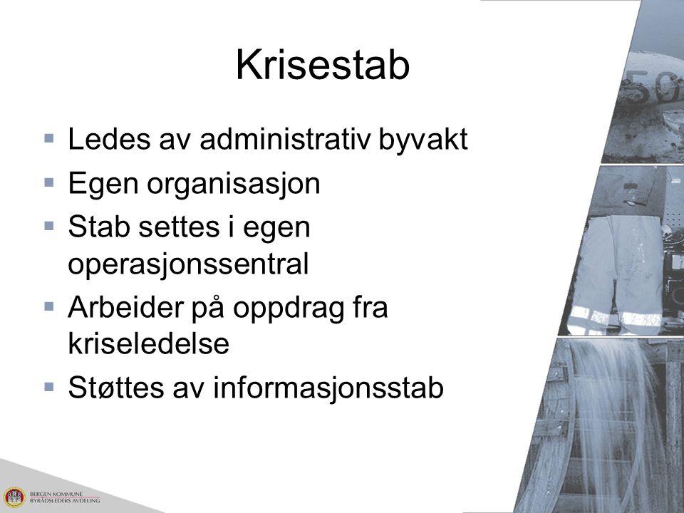 Krisestab Ledes av administrativ byvakt Egen organisasjon