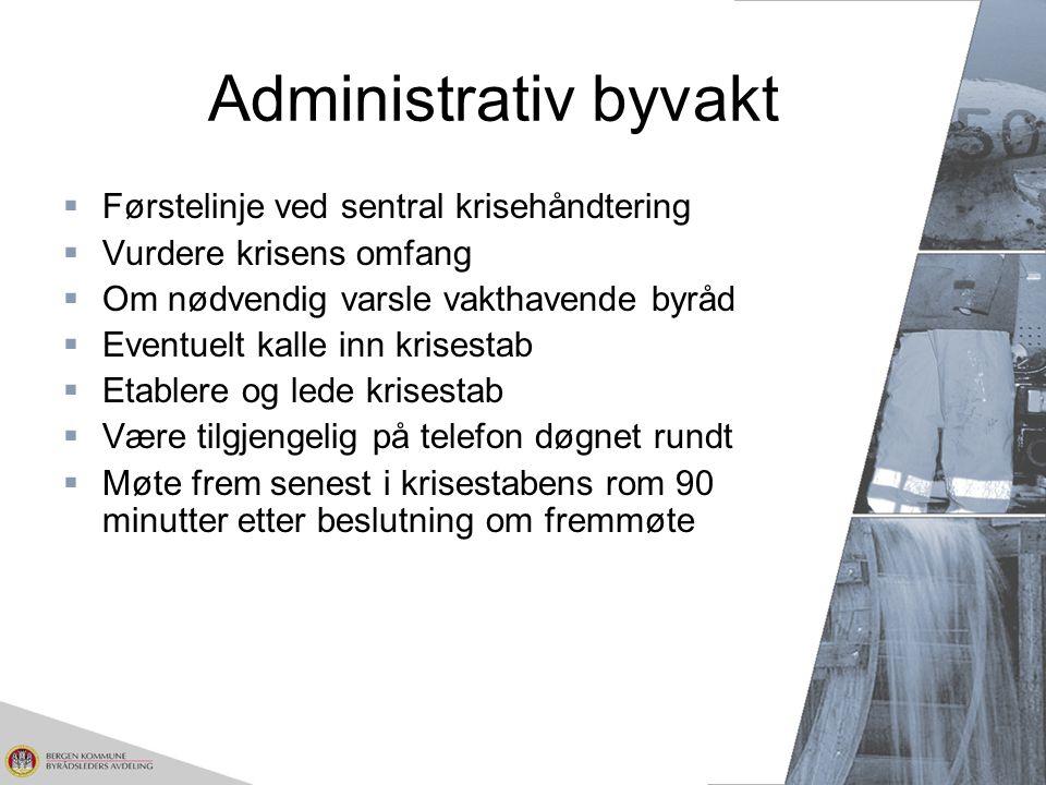 Administrativ byvakt Førstelinje ved sentral krisehåndtering