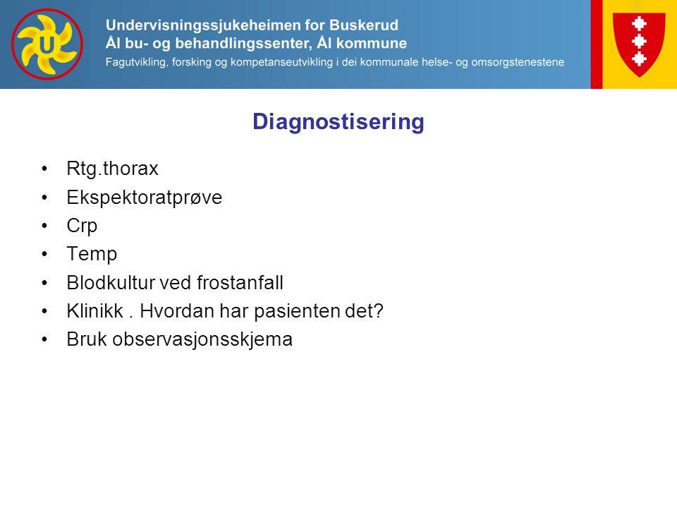 Diagnostisering Rtg.thorax Ekspektoratprøve Crp Temp