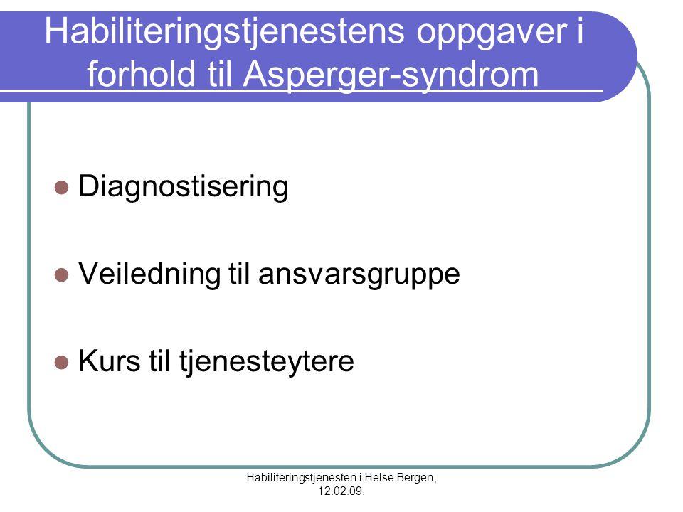 Habiliteringstjenestens oppgaver i forhold til Asperger-syndrom