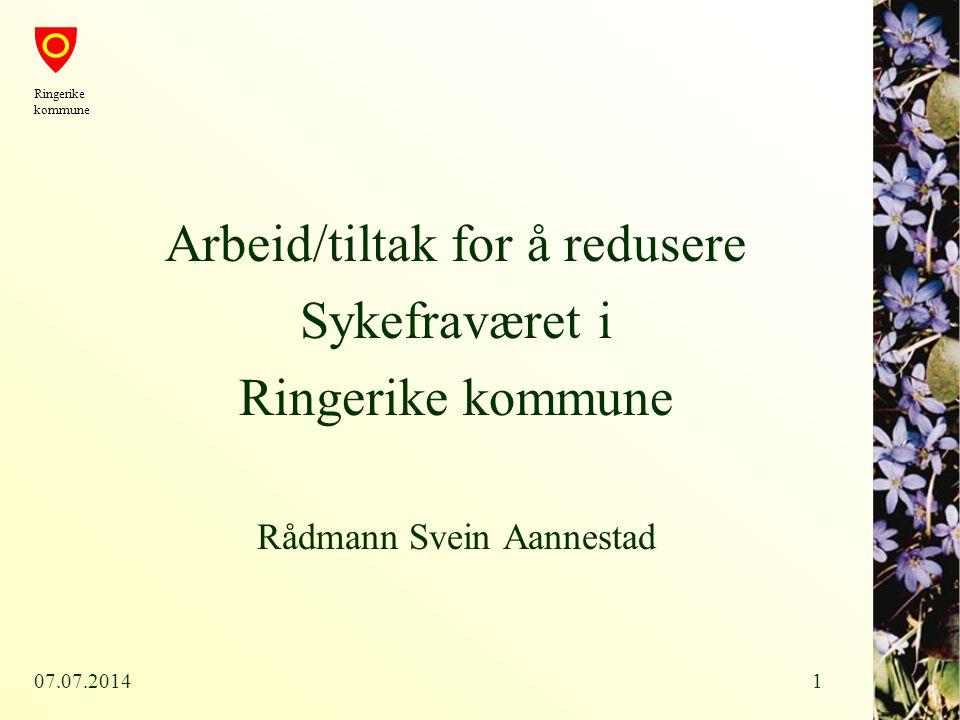 Arbeid/tiltak for å redusere Sykefraværet i Ringerike kommune