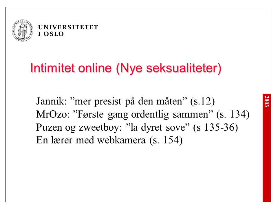 Intimitet online (Nye seksualiteter)
