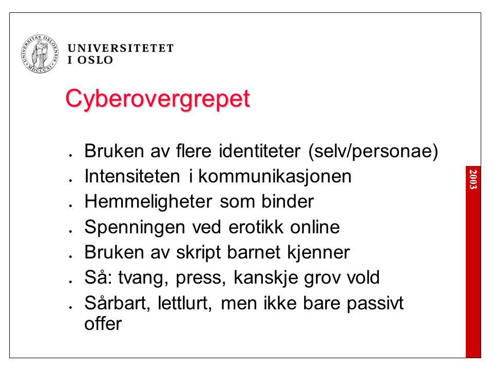 Cyberovergrepet Bruken av flere identiteter (selv/personae)