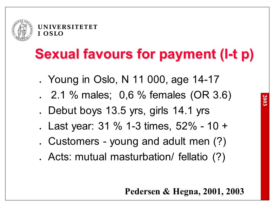 Sexual favours for payment (l-t p)