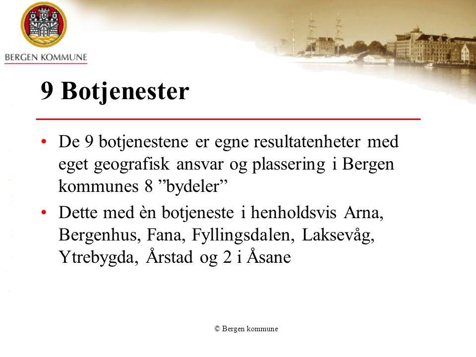 9 Botjenester De 9 botjenestene er egne resultatenheter med eget geografisk ansvar og plassering i Bergen kommunes 8 bydeler