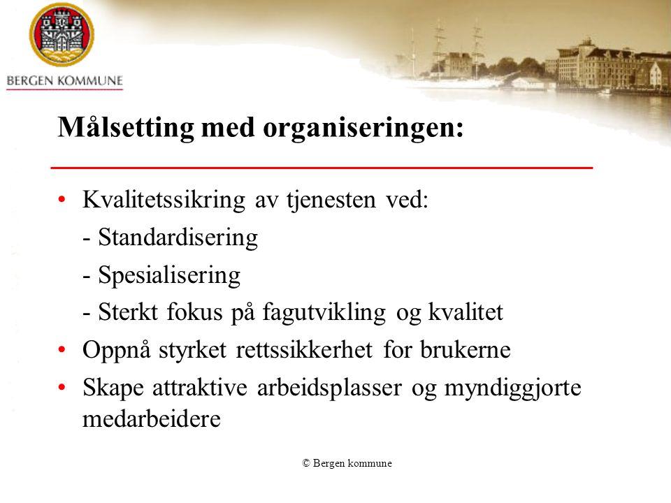 Målsetting med organiseringen: