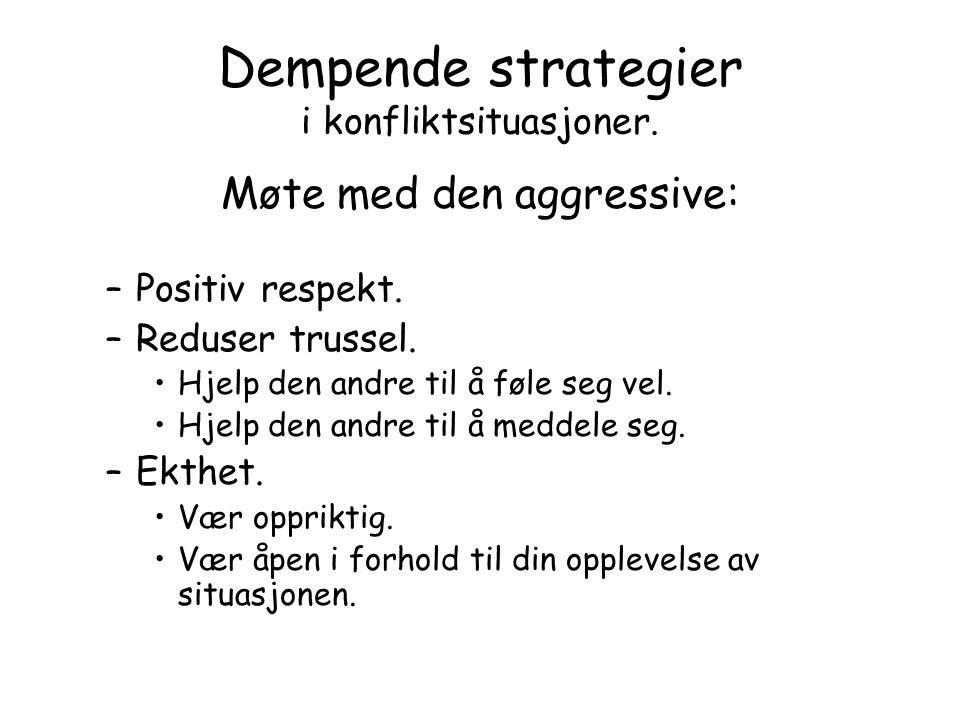 Dempende strategier i konfliktsituasjoner.