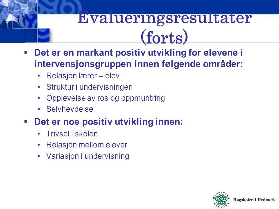 Evalueringsresultater (forts)