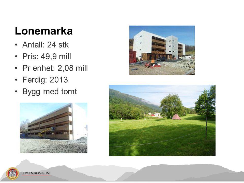 Lonemarka Antall: 24 stk Pris: 49,9 mill Pr enhet: 2,08 mill