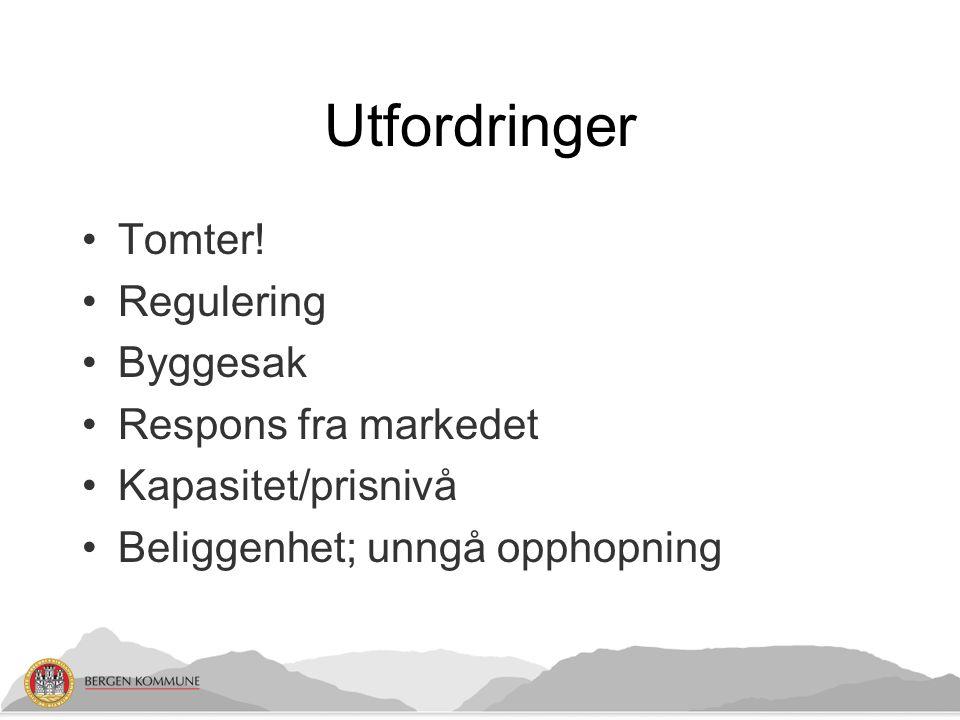 Utfordringer Tomter! Regulering Byggesak Respons fra markedet