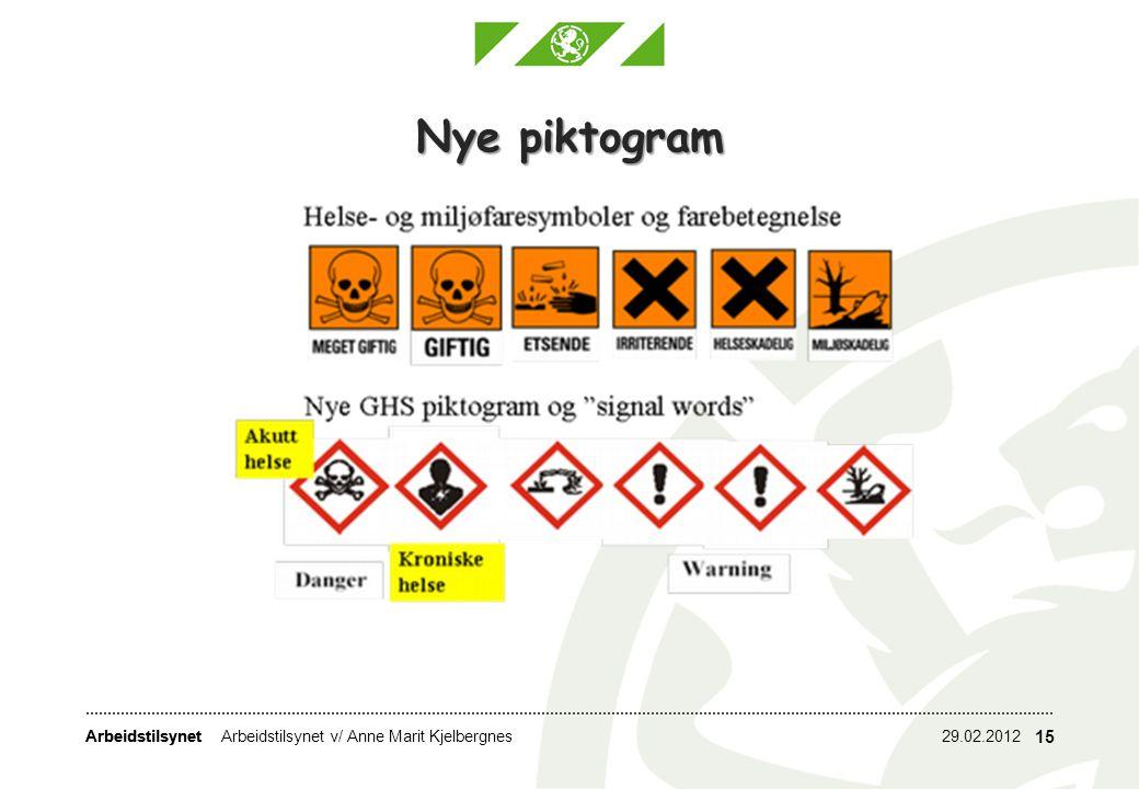 Nye piktogram Arbeidstilsynet v/ Anne Marit Kjelbergnes 29.02.2012