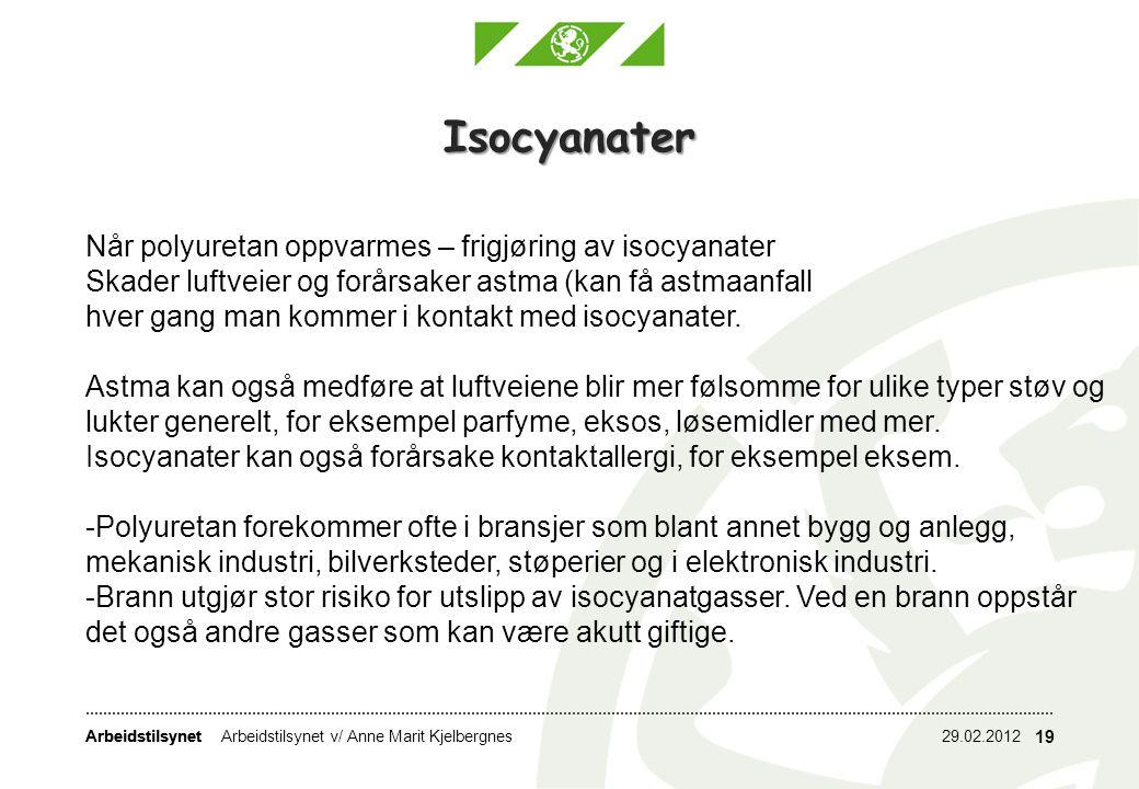 Isocyanater Når polyuretan oppvarmes – frigjøring av isocyanater