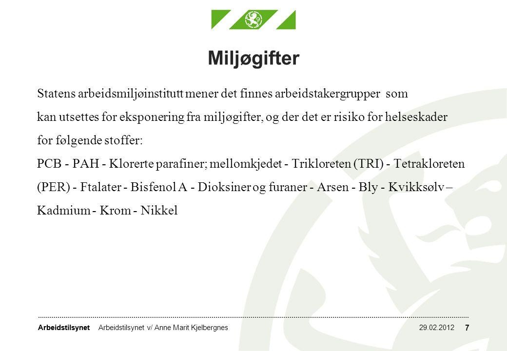 Miljøgifter Statens arbeidsmiljøinstitutt mener det finnes arbeidstakergrupper som.
