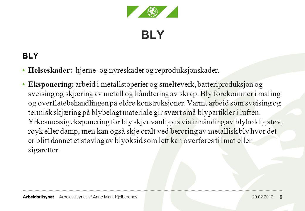 BLY BLY Helseskader: hjerne- og nyreskader og reproduksjonskader.